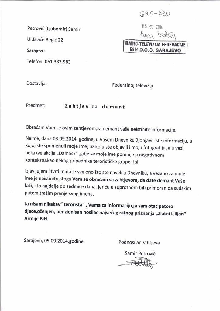 Heroja odbrane Bosne i Hercegovine FTV predstavila kao teroristu 20140909 101050