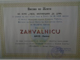 AKOS dobio zahvalnicu Općine Žepče za pomoć stanovništvu tokom poplava i klizišta