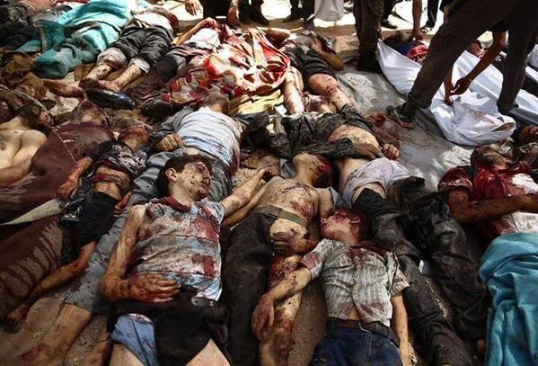Stravične slike jučerašnjeg pokolja kojeg je izveo Bashar Asad nad sirijskim muslimanima