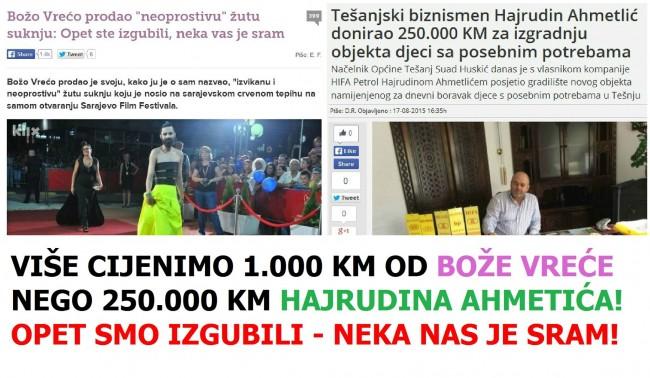Građanima BiH draža  jedna Božina od Hajrudinovih 250 hiljada KM