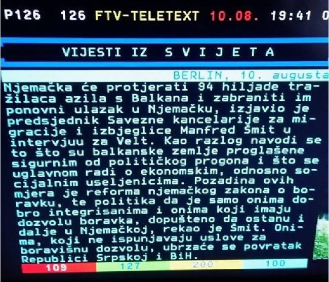 Na teletekstu FTV-a Republika Srpska se tretira kao posebna država