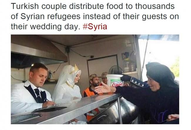 Turska: Umjesto svadbe, mladenci napravili 4 hiljade obroka za sirijske izbjeglice