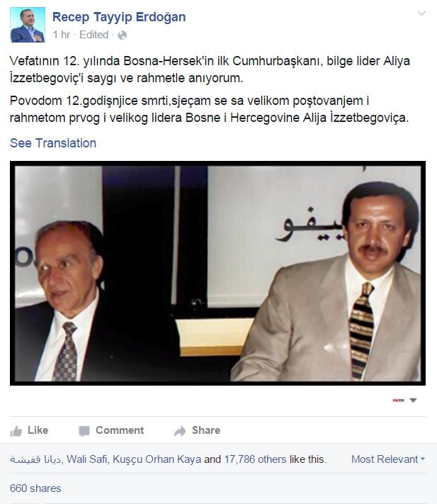 Evo kako se Erdogan na svom Facebooku profilu prisjetio rahmetli Alije Izetbegovića