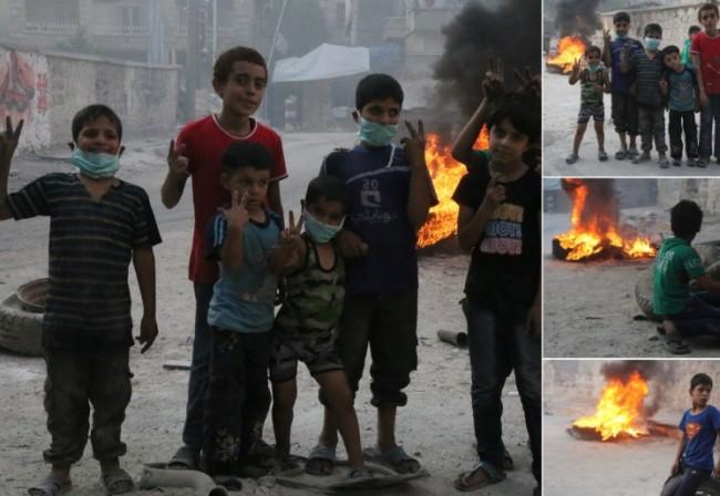 I djeca Halepa učestvuju u ofanzivi deblokade paljenjem guma