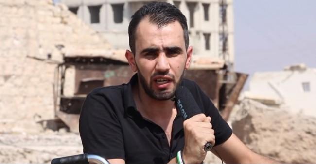 Nakon teškog ranjavanja, reporter Hadi Abdullah vratio se u Halep u kolicima da izvještava o herojskoj borbi sirijskog naroda