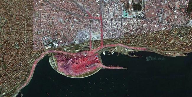 Satelitski snimak jučerašnjeg višemilionskog mitinga za demokratiju i šehide u Istanbulu