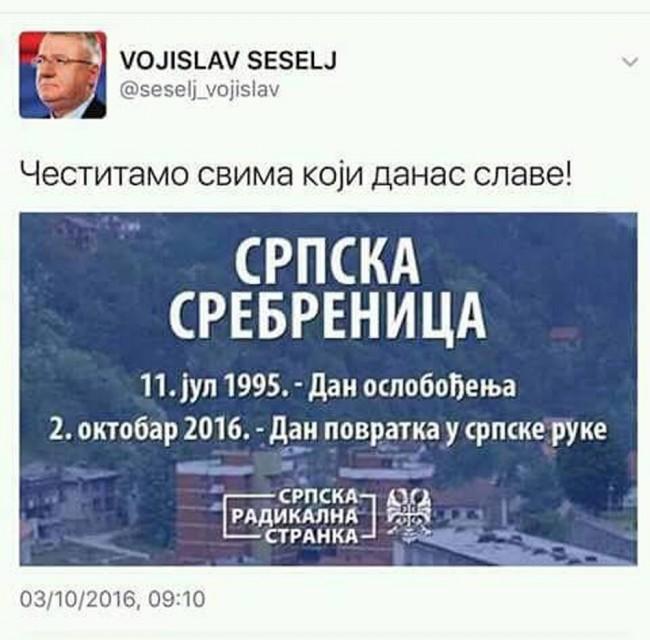 Skandalozna čestitka Vojislava Šešeljeva Srbima na pobjedi u Srebrenici /FOTO/