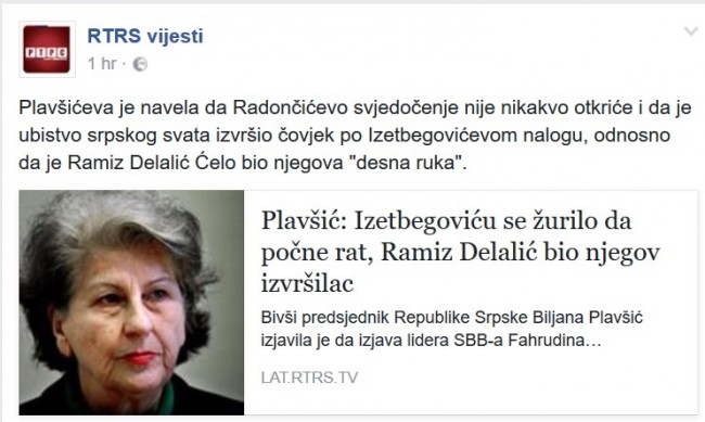 Zločinka Biljana Plavšić podržala Radončića izjavom: Izetbegoviću se žurilo da počne rat, Ramiz Delalić bio njegov izvršilac