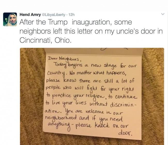 Ohio: Komšije ostavile dirljivu poruku jednom muslimanu nakon Trumpove inauguracije