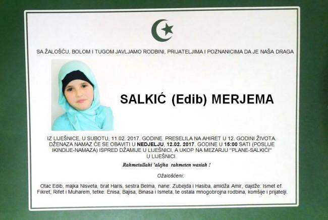 Džamija i bunar u Obali Slonovače nositi će ime Merjeme Salkić, djevojčice koja je poginula na povratku iz mekteba
