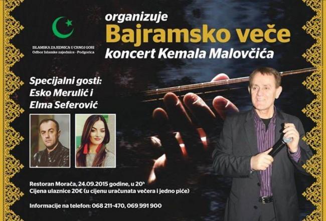 Odbor Islamske zajednice Podgorica organizuje bajramski koncert Kemala Malovčića