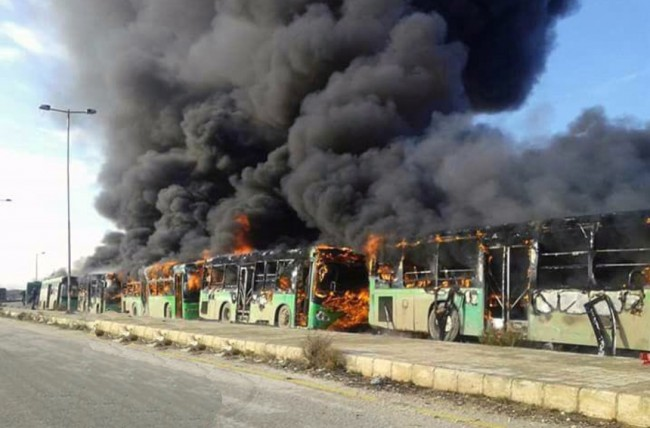 Luđaci koji su zapalili autobuse za evakuaciju ugrozili su život stanovnicima blokiranog istočnog Halepa